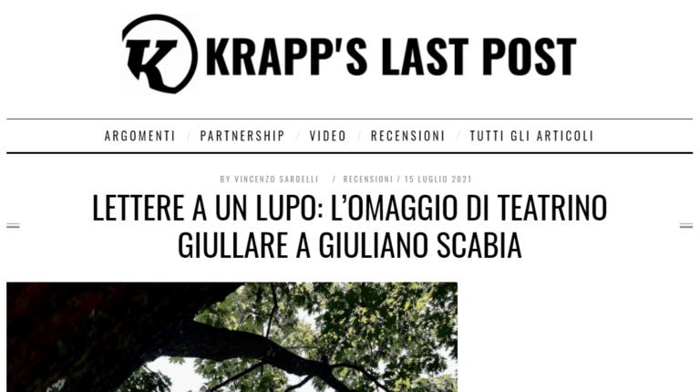 Lettere a un lupo: l'omaggio di Teatrino Giullare a Giuliano Scabia